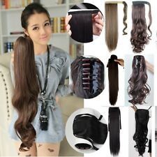 Real Thick Long Straight wavy Claw Ponytail Clip in Hair Extensions One Piece 3I