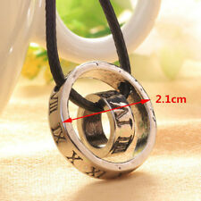 Hot Men's Roman Numerals Ring Buckle Leather Ropes Circle Pendants Necklaces