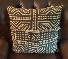 "African Mudcloth Fabric  Euro Pillow  24""x24"" Brown, Cream, Cover Handmade"