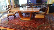 Dining table Italian marble with cherry base 6 chairs