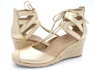 Vionic Womens Gold Aruba Calypso Leather Lace Up Espadrille Wedge Heel Sandals