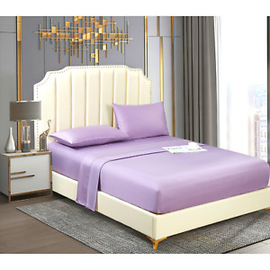Lyocell Tencel Cooling Bedsheets Ultra Soft Breathable Double Flat Sheet Purple