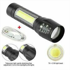 Portátil T6 COB LED táctica USB Recargable Lámpara antorcha linterna ampliable
