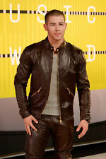 GLOSSY PHOTO PICTURE 8x10 Nick Jonas With Pants And Leather Jacket