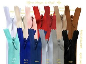 "5 15 pcs Invisible Zippers - 9"", 12"", 14"", 16"", 18"", 22"" inch zipper, #3"