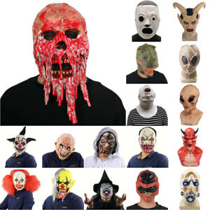 Halloween Creepy Scary Face Mask Bloody Cosplay Costume Fancy Dress Party Props