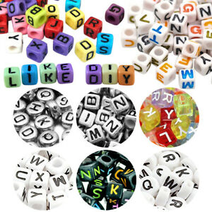 400/600 Assorted Alphabet Letter Acrylic Round Beads Smooth Various Color Craft
