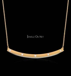 14K Gold 0.18 Ct. Genuine Diamond Long Curved Bar Pendant Necklace Fine Jewelry