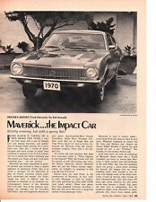 1970 FORD MAVERICK ~ ORIGINAL 2-PAGE NEW CAR PREVIEW ARTICLE / AD