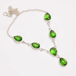 """Peridot    925 Sterling Silver Necklace16"""" BN-3431_1.1145_2875"""