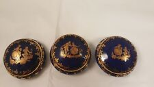 Set of 3 Limoges Victorian Round Trinket Boxes dish blue & gold