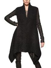 $2765 Rick Owens Black Nappa Sleeve Wool Mohair Bouclé Leather Sleeves Coat US8