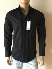 D&G Dolce & Gabbana Black Long Sleeve Men's Brad Button Down Shirt Size 15/38