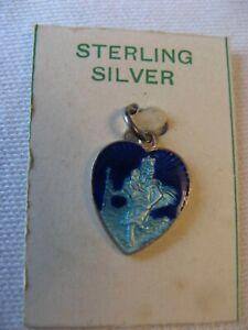 vintage St Christoper sterling silver enamelled charm 1970s