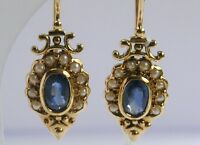 C098 Genuine 9ct SOLID Gold Natural Sapphire & Pearl DROP Earrings Vintage style