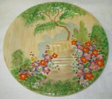 RARE Art Deco Royal Winton Grimwades Handpainted GARDEN TERRACE Wall Plate c1934