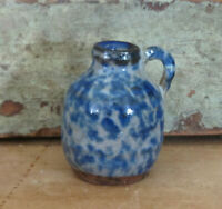 "Miniature Stoneware Jug Blue & White Spongeware Salt Glaze Pottery 1 3/4"" high"