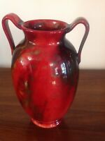 TWIN HANDLED ROYAL DOULTON FLAMBE VEINED VASE SIGNED FRED MOORE