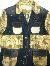 Pepe Jeans Womens 3 Button Denim Logo Jacket-Paint Splotch Two Tone- Stretch- XL