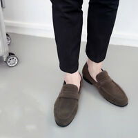 Men Driving Loafers Suede Leather Shoes Casual Moccasins Slip On Flats Zsell