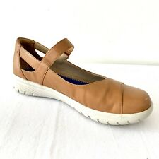 Ziera Womens Sofia Mary Janes Tan Leather Flat Shoes Orthotic Friendly Size 41XF