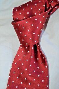 """$250 NWT TOM FORD Red with white woven spots men's 3.4"""" satin Silk tie Italy"""