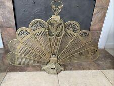 Vintage Peacock Cameo Face Victorian Brass Fan Fireplace Folding Screen Large