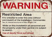 "7"" x 10"" Metal Sign - Warning Restricted Military Area 51 - Vintage Look Reprodu"