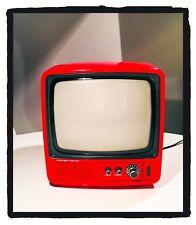Televisore Vintage Mivar 9BN2V Mini Tv 9'' Portatile Bianco e Nero ROSSO 1981