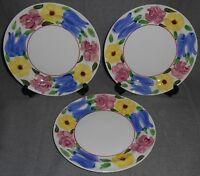 Set (3) Blue Ridge/Southern Potteries PRIMROSE PATH PATTERN Salad Plates