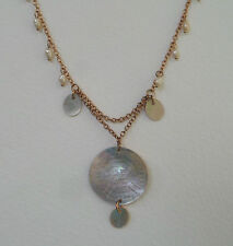 ENGRAVED SHELL & FW PEARLS ROSE GOLD PLATED NECKLACE EARRINGS LISTED TOO RG58