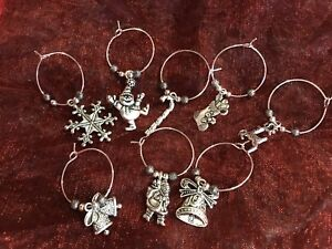 Xmas Novelty Wine Glass Charms, Set Of 8, New