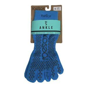 ToeSox Women Ankle Full Toe Grip Socks Yoga Pilate Organic Cotton Small Blue New