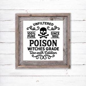 Halloween Vinyl Decal Sticker Box Frame Shop Window Home Sign Poison Witches DIY