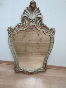 Antique Bevelled worked Mirror Antique Louis XV Carved wood handmade France 1940