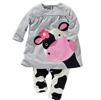 2pc Baby Girls Clothing Set Long Sleeve Cow Tops T-Shirt Pants Outfit Tops Kids