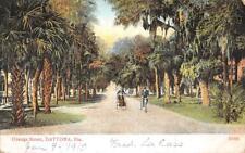 ORANGE STREET DAYTONA FLORIDA BIKE & CART POSTCARD 1910