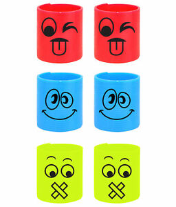 12 Emoji Plastic Springs - Slinky Pinata Toy Loot Party Bag Fillers Smiley Face