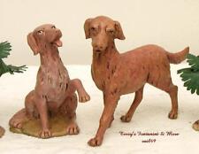 "Fontanini Depose Italy 12""Series 2Pc 5""L Dog Set Nativity Village Figs 52903 Nib"