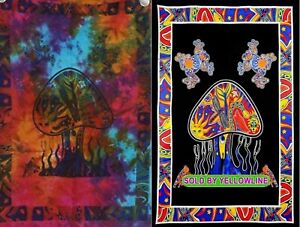 2 piece Mushroom Tapestry Bohomen Indian Wall Hanging Wholesale (77cmX102cm)MB-2