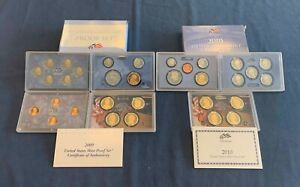 2009 & 2010 US Mint Proof Sets w/COA's - Free Shipping USA