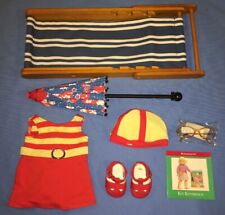 American Girl Kit 1934 Swimsuit Outfit with Beach Chair, Floral Parasol, Shoes!