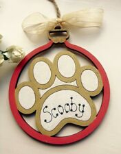 Personalised Wooden Pet Bauble Cute Gift Christmas Decoration Dog Cat