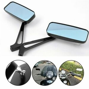 2X Rearview Mirrors For MOTORCYCLE  ANTI GLARE Blue Glass Y Black Rectangle