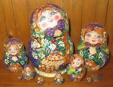 Pyrography Babushka Russian nesting dolls LILAC GREEN GOLD HAND MADE 10 MAMAYEVA