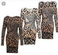 Size 8-12 Big Leopard Fluffy Bodycon Jumper Dress Mocha New Long Sleeve DT75