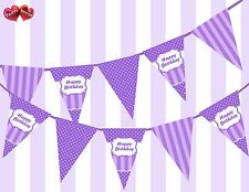Pretty Purple Happy Birthday Sign Vintage Polka Dots Theme Bunting Banner Party