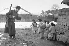Australian Army Soldier & Children Korean War 1951, Reprint Photo 7x5 inch