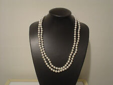 """vintage porcelain cameo pin clasp 2 strand faux 8mm pearl necklace 23.5"""""""