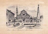 Vintage Firenze Piazza e Basilica di Santa Maria Novella Print